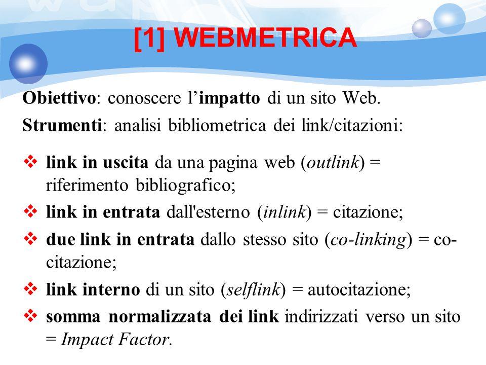 [1] WEBMETRICA Obiettivo: conoscere l'impatto di un sito Web.